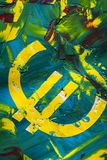 Ευρο- ζωγραφική σημαδιών στο χρώμα Στοκ φωτογραφίες με δικαίωμα ελεύθερης χρήσης