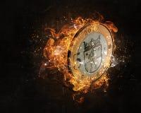 Ευρο- κάψιμο νομισμάτων στην πυρκαγιά Στοκ Φωτογραφία