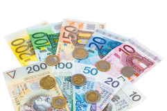 Ευρο- και νέα zloty τραπεζογραμμάτια στιλβωτικής ουσίας με τα νομίσματα στοκ εικόνες