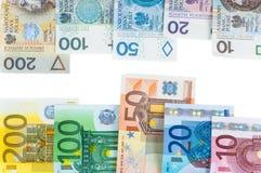 Ευρο- και νέα zloty τραπεζογραμμάτια στιλβωτικής ουσίας στοκ εικόνες