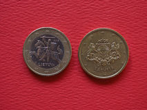 1 ευρο- και νομίσματα 50 σεντ, Ευρωπαϊκή Ένωση Στοκ εικόνες με δικαίωμα ελεύθερης χρήσης