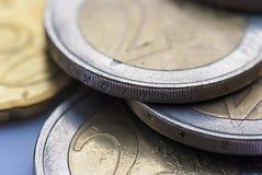 Ευρο- κινηματογράφηση σε πρώτο πλάνο νομισμάτων ένωσης, μακρο άποψη Στοκ Φωτογραφίες