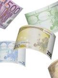 Ευρο- κολάζ λογαριασμών που απομονώνεται στο λευκό Στοκ Φωτογραφία
