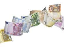 Ευρο- κολάζ λογαριασμών στο λευκό Στοκ Εικόνα