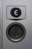 Ευρο- κλειστή ασφαλής μηχανή πληρωμής διαγραμμάτων αυλακώσεων νομισμάτων μετάλλων Στοκ φωτογραφία με δικαίωμα ελεύθερης χρήσης