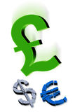 ευρο- λίβρα δολαρίων διανυσματική απεικόνιση