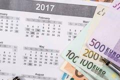 ευρο- λογαριασμοί στο ημερολόγιο Στοκ Εικόνες