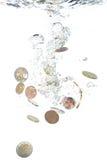 ευρο- μειωμένο ύδωρ νομισ Στοκ φωτογραφία με δικαίωμα ελεύθερης χρήσης
