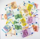 Ευρο- μετρητά έννοιας χρηματοδότησης χρημάτων τραπεζογραμματίων στο άσπρο υπόβαθρο Στοκ Εικόνα