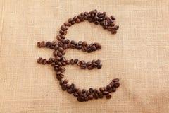 ευρο- μορφή καφέ φασολιών Στοκ Εικόνα
