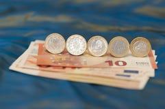 Ευρο- νομίσματα ένα Στοκ Εικόνες