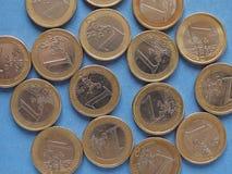 Ευρο- νομίσματα, Ευρωπαϊκή Ένωση πέρα από το μπλε Στοκ Φωτογραφία