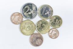 Ευρο- νομίσματα και σεντ Στοκ Φωτογραφίες