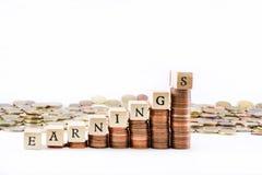 Ευρο- νομίσματα νομίσματος που διαμορφώνουν μια κλίμακα με τους ξύλινους κύβους που ολοκληρώνουν τις αποδοχές λέξης Στοκ εικόνες με δικαίωμα ελεύθερης χρήσης