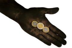 Ευρο- νομίσματα που βρίσκονται σε ετοιμότητα βρώμικο. Στοκ Εικόνα