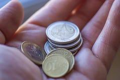 Ευρο- νομίσματα σε έναν φοίνικα Στοκ Εικόνες
