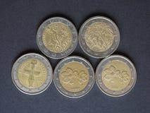 Ευρο- νομίσματα (της ΕΥΡ), νόμισμα της Ευρωπαϊκής Ένωσης (ΕΕ) Στοκ Φωτογραφία