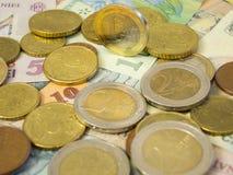 Ευρο- νόμισμα επάνω από το LEU Στοκ Φωτογραφία