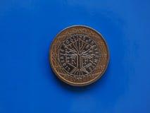 1 ευρο- νόμισμα, Ευρωπαϊκή Ένωση, Γαλλία πέρα από το μπλε Στοκ Εικόνες