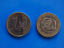 1 ευρο- νόμισμα, Ευρωπαϊκή Ένωση, Ελλάδα πέρα από το μπλε Στοκ Εικόνες