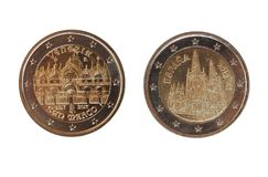2 ευρο- νόμισμα, Ευρωπαϊκή Ένωση Στοκ εικόνες με δικαίωμα ελεύθερης χρήσης