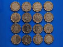 1 ευρο- νόμισμα, Ευρωπαϊκή Ένωση Στοκ Εικόνα