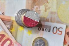 Ευρο- νόμισμα με τη εθνική σημαία της Πολωνίας στο ευρο- υπόβαθρο τραπεζογραμματίων χρημάτων Στοκ φωτογραφίες με δικαίωμα ελεύθερης χρήσης