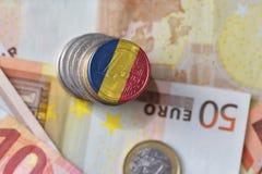 Ευρο- νόμισμα με τη εθνική σημαία της Ρουμανίας στο ευρο- υπόβαθρο τραπεζογραμματίων χρημάτων Στοκ Φωτογραφίες