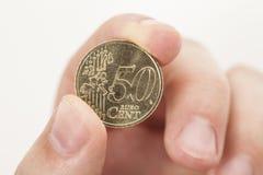50 ευρο- νόμισμα σεντ Στοκ Φωτογραφία