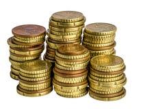 Ευρο- νόμισμα στο λευκό Στοκ Φωτογραφίες