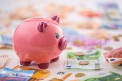 Ευρο- ευρο- νόμισμα τραπεζογραμματίων χρημάτων ευρο- και piggy τράπεζα Στοκ Φωτογραφίες