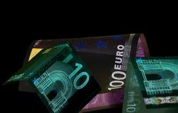 Ευρο- νόμισμα & x28 τραπεζογραμμάτια & x29  στην προστασία UV φωτός Στοκ φωτογραφία με δικαίωμα ελεύθερης χρήσης