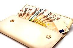Ευρο- λογαριασμοί που απομονώνονται στο άσπρο υπόβαθρο Στοκ εικόνες με δικαίωμα ελεύθερης χρήσης