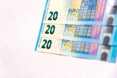 20 ευρο- λογαριασμοί Στοκ εικόνα με δικαίωμα ελεύθερης χρήσης