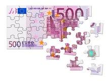 ευρο- οικονομικός γρίφος χρημάτων χεριών έννοιας Στοκ Εικόνα