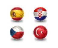 Ευρο- ομάδα Δ σφαίρες ποδοσφαίρου με τις εθνικές σημαίες της Ισπανίας, Κροατία, Τσεχία, Τουρκία Στοκ εικόνες με δικαίωμα ελεύθερης χρήσης