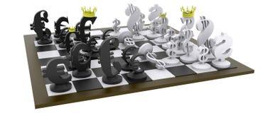 Ευρο- παιχνίδι σκακιού δολαρίων Στοκ Εικόνες