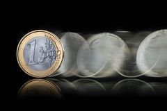 Ευρο- περιστροφή νομισμάτων Στοκ Φωτογραφία