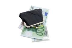 ευρο- πορτοφόλι δέρματος Στοκ Εικόνα