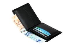 ευρο- πορτοφόλι τραπεζογραμματίων Στοκ Εικόνες