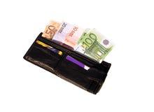 ευρο- πορτοφόλι στοκ εικόνες