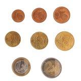 Ευρο- σειρά νομισμάτων Στοκ εικόνα με δικαίωμα ελεύθερης χρήσης