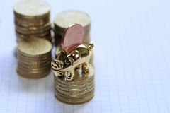 Ευρο- σεντ τραπεζών Piggy Στοκ εικόνα με δικαίωμα ελεύθερης χρήσης