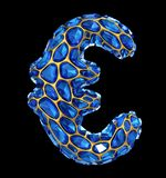 Ευρο- σημάδι φιαγμένο από μπλε διαμάντι που απομονώνεται στο μαύρο υπόβαθρο τρισδιάστατος Στοκ Φωτογραφία