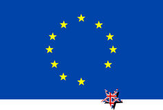 Ευρο- σημαία με την αναχώρηση του αστεριού της Μεγάλης Βρετανίας Στοκ Εικόνα