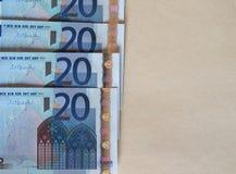Ευρο- σημειώσεις της ΕΥΡ, ΕΕ της Ευρωπαϊκής Ένωσης με το διάστημα αντιγράφων Στοκ εικόνες με δικαίωμα ελεύθερης χρήσης