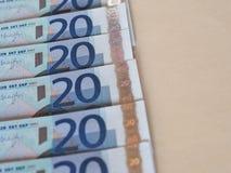 Ευρο- σημειώσεις της ΕΥΡ, ΕΕ της Ευρωπαϊκής Ένωσης με το διάστημα αντιγράφων Στοκ φωτογραφία με δικαίωμα ελεύθερης χρήσης