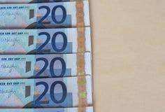Ευρο- σημειώσεις της ΕΥΡ, ΕΕ της Ευρωπαϊκής Ένωσης με το διάστημα αντιγράφων Στοκ Εικόνες