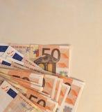 Ευρο- σημειώσεις της ΕΥΡ, ΕΕ της Ευρωπαϊκής Ένωσης με το διάστημα αντιγράφων Στοκ Φωτογραφίες