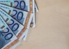 Ευρο- σημειώσεις της ΕΥΡ, ΕΕ της Ευρωπαϊκής Ένωσης με το διάστημα αντιγράφων Στοκ φωτογραφίες με δικαίωμα ελεύθερης χρήσης